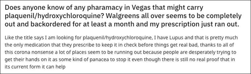 One of many social media posts commenting on the shortage of Hydroxychloroquine