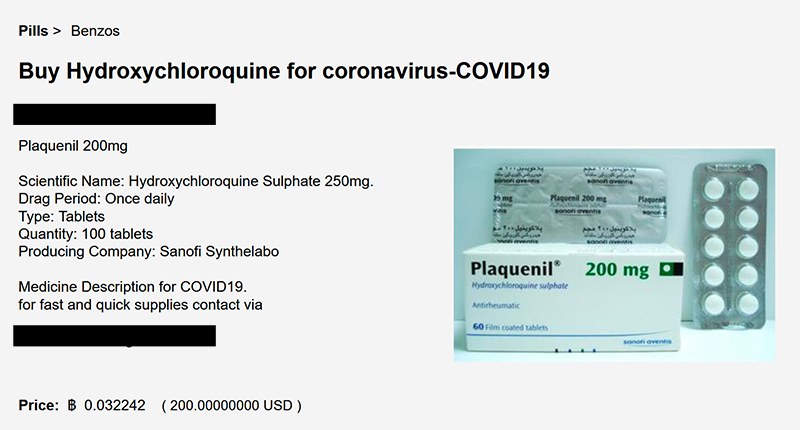 An advertisement for Hydroxychloroquine on a Dark Web market