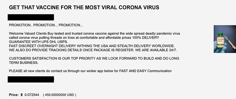 Dark Web advertisement for Coronavirus Vaccines
